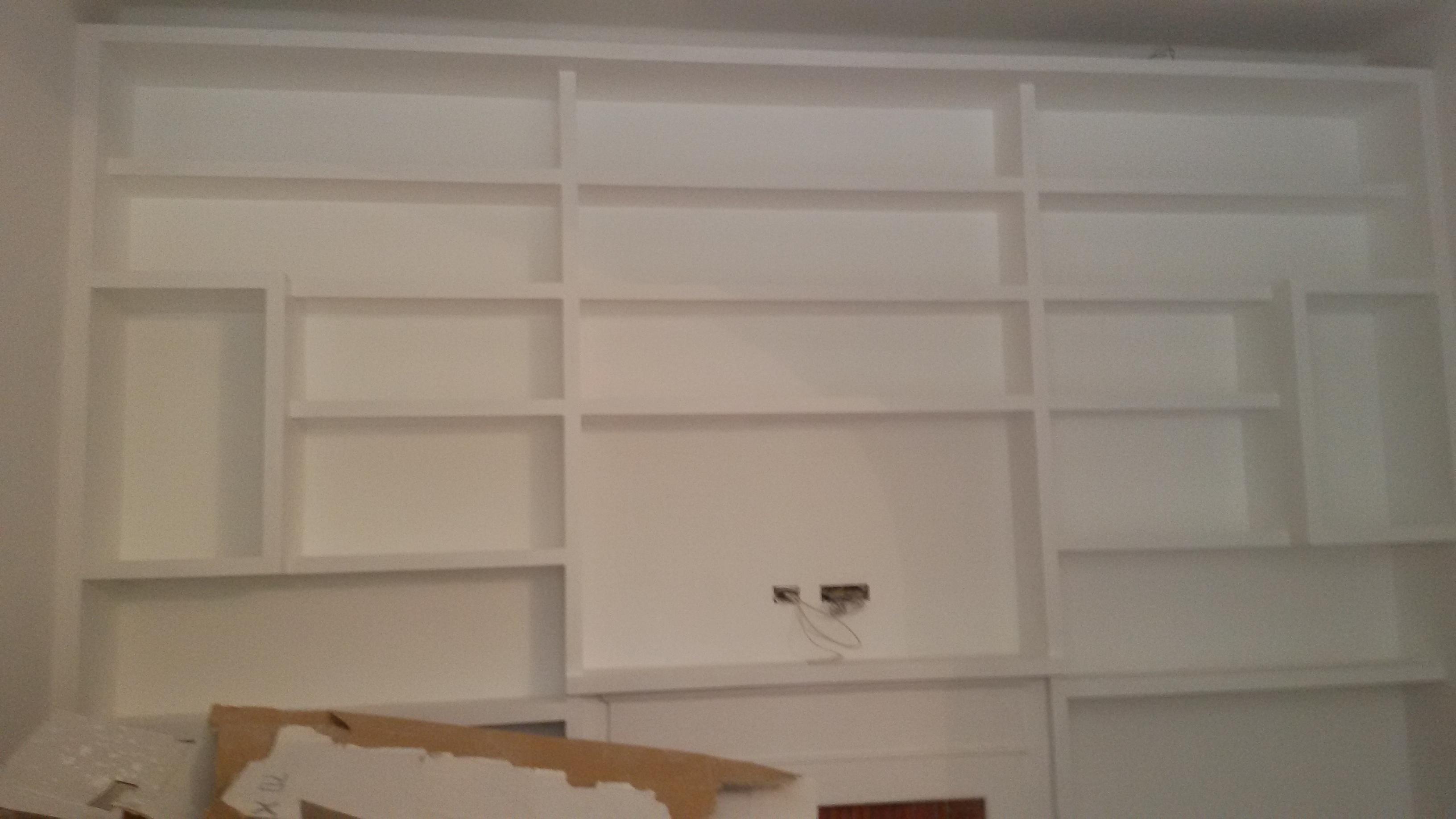 libreria cartongesso pittura